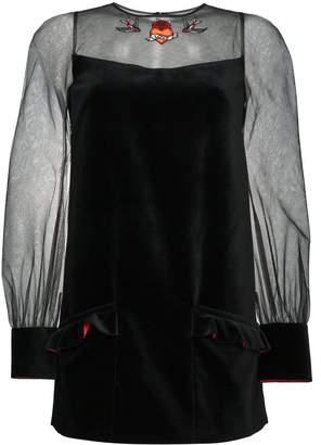 Navro Velvet mini dress with sheer sleeves