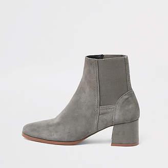 River Island Grey suede square toe block heel boots
