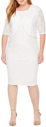 MAYA BROOKE Maya Brooke 3/4 Lace Sleeve Jacket Dress - Plus