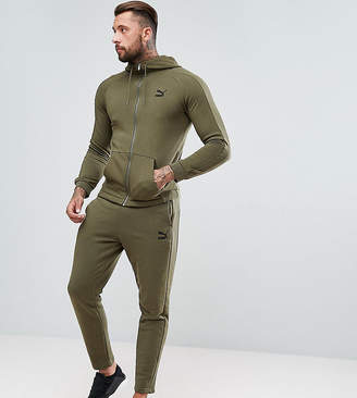 Puma Skinny Fit Tracksuit Set In Khaki Exclusive to ASOS