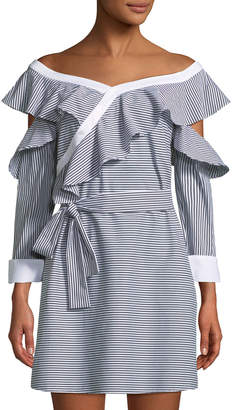 Laundry by Shelli Segal Off-The-Shoulder Striped Wrapped Shirtdress
