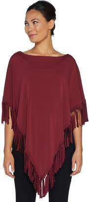 Women With Control Attitudes by Renee Jersey Knit Poncho with Fringe Detail