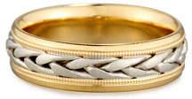Gents Eli Two-Tone Braided 18K Gold Wedding Band Ring, Size 10