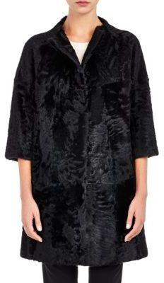 Barneys New York Women's Moiré Fur Coat-BLACK $5,995 thestylecure.com