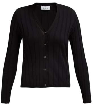 Allude Ribbed Cotton Blend Cardigan - Womens - Black