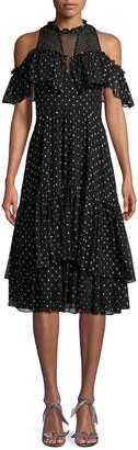 Rebecca Taylor Cold-Shoulder Clip Dot Dress