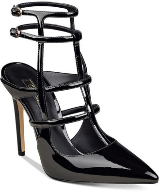 GUESS Women's Adrean Cage Pumps $99 thestylecure.com