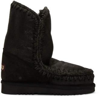 Mou Black Cracked Eskimo 24 Boots