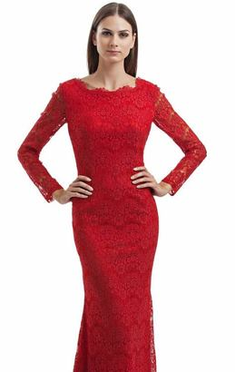 JS Collections - Long Sleeves Lace Long Dress 864550 $606 thestylecure.com