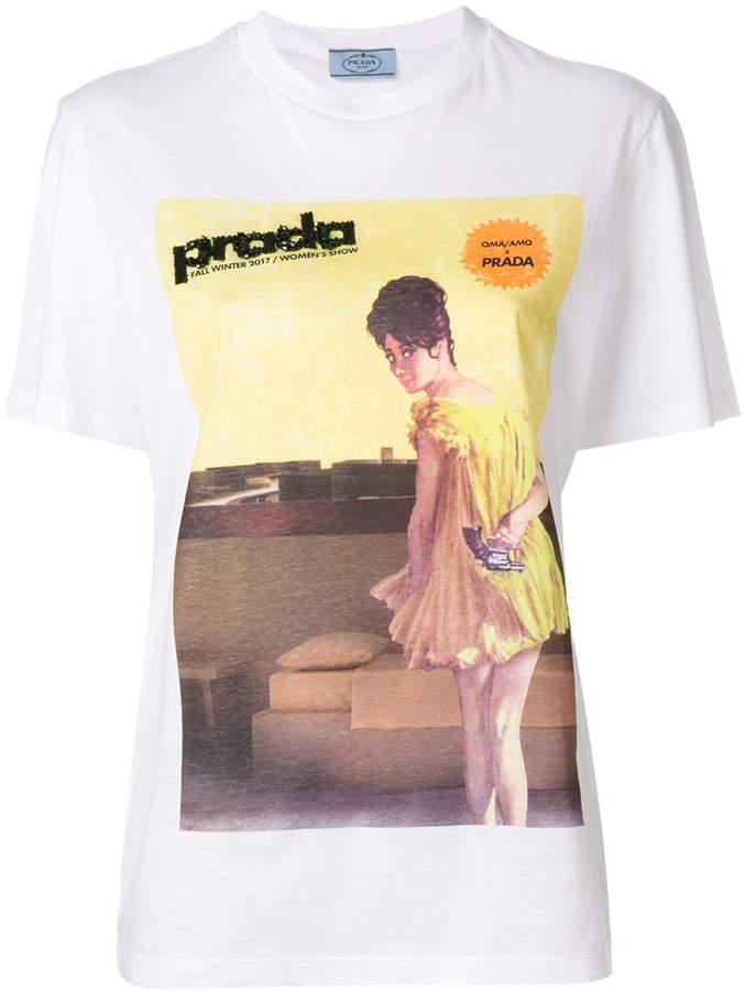 Prada beaded poster girl print T-shirt