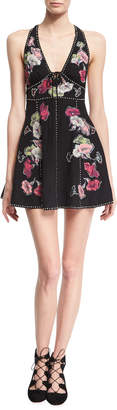 Marc Jacobs Floral-Embroidered Sleeveless Fit & Flare Minidress, Black