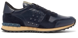 Valentino Rockstud Embellished Suede Trainers - Mens - Navy Multi