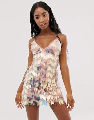 524a5766413 Rare London mini fringe tassel mini dress with chain straps in multi