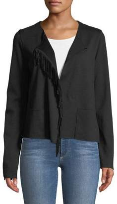 Neiman Marcus Majestic Paris for Merino Wool Open-Front Jacket with Suede Fringe