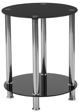 Offex Offex Contemporary Black Glass End Table With Shelves And Stainless Steel Frame Offex