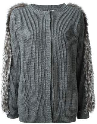 Liska fox fur trim cardigan