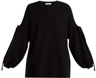 Valentino Bow Detail Wool And Cashmere Blend Sweater - Womens - Black