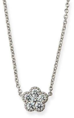 Roberto Coin 18k White Gold Diamond Flower Small Pendant Necklace