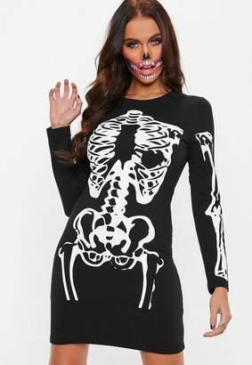 Missguided Black Skeleton Long Sleeve Dress