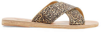 Ancient Greek Sandals Thais Leopard-print Satin And Leather Slides