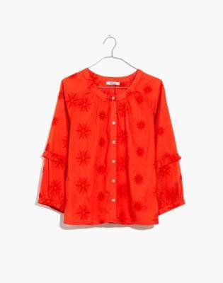 Madewell Embroidered Bubble-Sleeve Shirt
