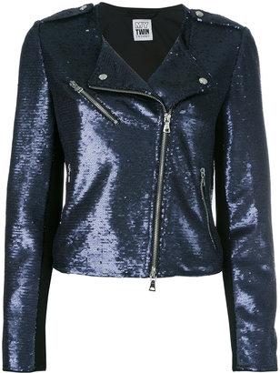 Twin-Set sequinned biker jacket $192.01 thestylecure.com