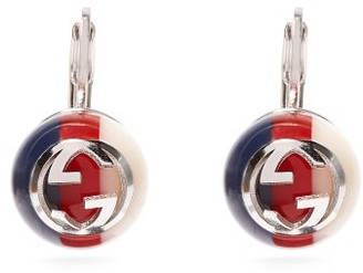 Gucci Logo Embellished Drop Earrings - Womens - Blue