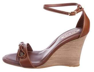 Tod's Leather Peep-Toe Wedge Sandals