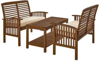 Walker Edison 3-Piece Dark Brown Acacia Patio Conversation Set