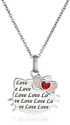 Hello Kitty Streling Heart Bow Love Engraved Silhouette Pendant Necklace