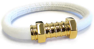 """Liza Schwartz Jewelry White Leather Bracelet """"Love Screw"""""""