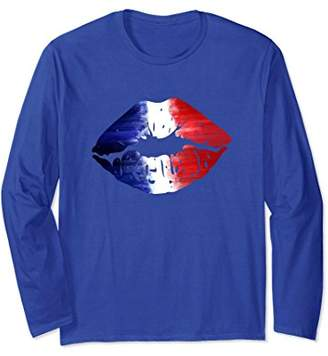 Kiss Me I'm French Lips French Flag Long Sleeve Tshirt