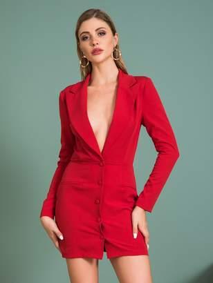 Shein Double Crazy Solid Button Front Plunge Neck Blazer Dress
