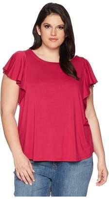 Karen Kane Plus Plus Size Flounce Sleeve Top Women's Clothing