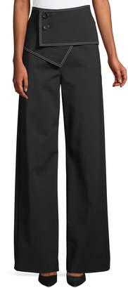 Derek Lam High-Waist Flared-Leg Trousers w/ Fold-Over Waist