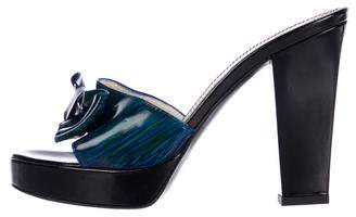 Saint Laurent Patent Leather Slide Sandals