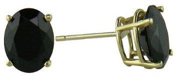 Oval Black Onyx Stud Earrings in 14K Yellow Gold