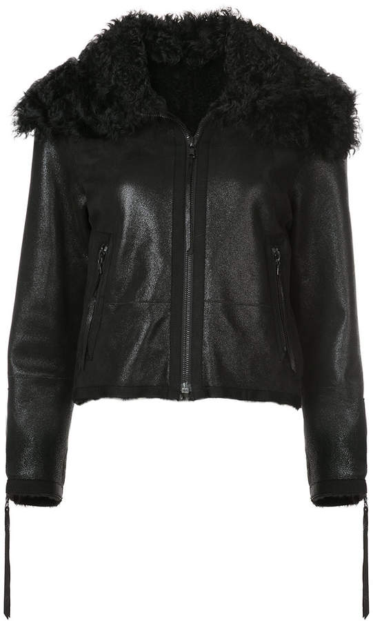 Oscar de la Renta zipped shearling jacket