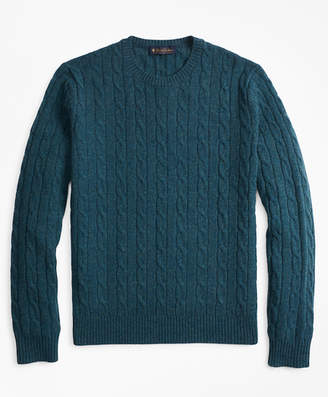 Brooks Brothers Lambswool Cable Crewneck Sweater