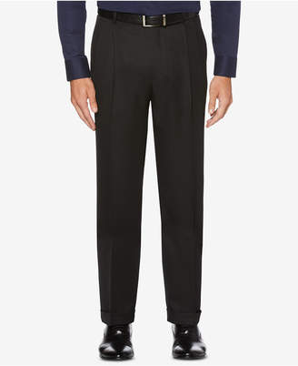 Perry Ellis Men Portfolio Classic/Regular Fit Elastic Waist Double Pleated Cuffed Dress Pants
