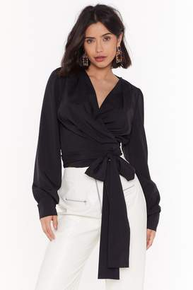 Nasty Gal Wrap Now Cropped Tie Shirt