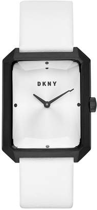 DKNY Women's Cityspire White Leather Strap Watch 27x34mm, Created for Macy's
