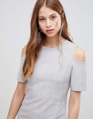 Glamorous Cold Shoulder Check Dress