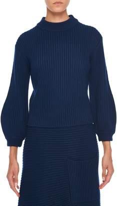 Tibi Ribbed Merino Wool Pullover Sweater