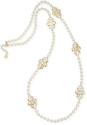 "Charter Club Gold-Tone Openwork Flower & Imitation Pearl Station Necklace, 42"" + 2"" extender"