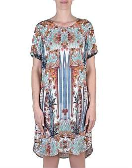 Jump Short Sleeve Antique Print Dress