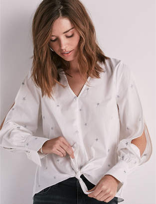 Lucky Brand COLD SHOULDER EMBROIDERED POPLIN