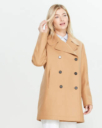 Jil Sander Navy Dark Beige Double-Breasted Wool Coat
