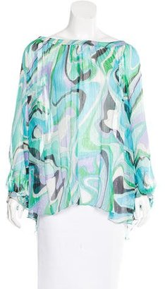 Emilio Pucci Silk Abstract Print Blouse $195 thestylecure.com