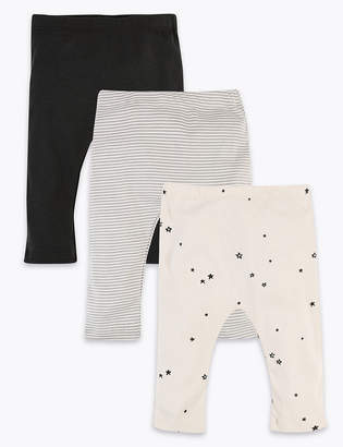 Marks and Spencer 3 Pack Cotton Striped & Star Print Leggings